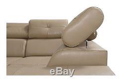 ITALIAN STYLE Corner Sofa Bed Monaco II Leather adjustable headrest & storage