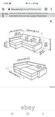 Ikea Grey Friheten corner sofa-bed with storage