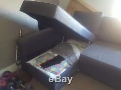 Ikea corner sofa bed with storage (grey)