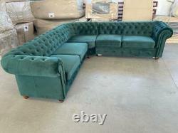Infinity Chesterfield Sofa Corner, 3+2+1, Bed Silver Grey Green Blue Black