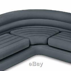 Intex Inflatable Air Corner Sofa with Cup Holders Folding + Queen Size Futon Bed