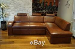 Italian Leather Corner Sofa Bed With Sleep Function Real ...