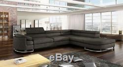 Italian Style Modern Corner Sofa Bed Uberto adjustable headrests 15 colours SALE