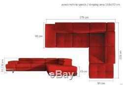 Italian Style Modern Leather Corner Sofa Bed Ricardo + storage, many colours