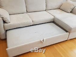 John Lewis Corner Sofa Bed with Storage space Model TOM (RHF Chaise) Beige