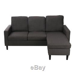 Jumbo Grey Fabric Sofa L Shaped Corner Sofa Bed 3/4 Seater Recliner Couch Soft