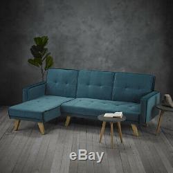 Kilda Teal Large Corner Sofa Bed / Modern Scandi Blue Green 3 Seater Chaise End
