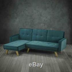 Kitson Corner Sofa Bed Teal Velvet L Shaped Modern Contemporary Oak Legs 198cm