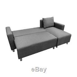 L Corner Sofa Bed with Underneath Storage in Grey, Brown, Black, Brown