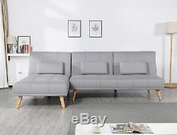 L Shaped Corner Sofa Bed Modern 2 3 Seater or Single Fabric Couch Universal Grey