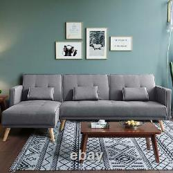 L Shaped Corner Sofa Bed Modern 3 4 Seater or Single Fabric Couch Grey