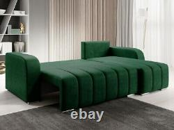 L-Shaped Corner Sofa Bed with Storage Fabric Bonell Springs New PUFETTO L