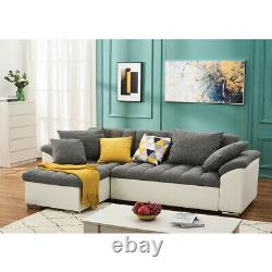 L-Shaped Grey Fabric Leather Corner Sofa Bed Recliner Sleep Function Storage