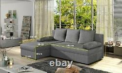 L-Shaped Universal Corner Sofa Bed DAKO GINA with Storage Black Dark Grey