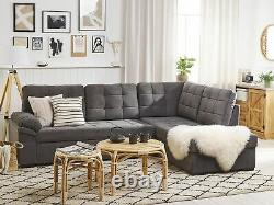 L Shaped Velvet Corner Sofa Bed 4 Seater with Chaise Storage Tufted Grey Varnamo