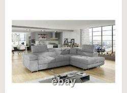 L-shaped Corner Sofa Bed with LARGE storage Grey