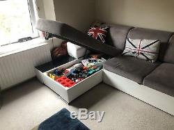 LEFT CORNER SOFA BED IN LIGHT GREY& WHITE. WITH STORAGE. Eco leather&fabric