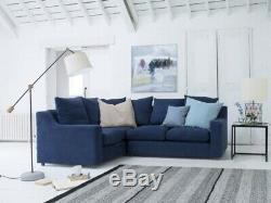 LOAF Cloud Corner Sofa Bed In NAVY BLUE BRUSHED COTTON with Removable Covers £3345