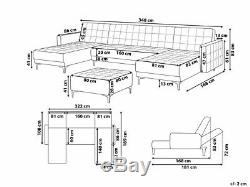 Large 6 Seater U-Shaped Corner Modular Leather Sofa Bed