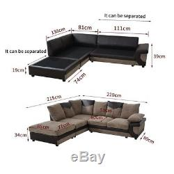 Large Corner Sofa 5 Soft Seat Living Room Comfortable Sofa Bed Beige Grey Black