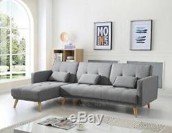 Large Corner Sofa Bed 4 Seater Grey Fabric Settee L Shaped Couch Chaise Recliner