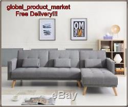 Large Corner Sofa Bed 4 Seater Grey Settee Relax Couch ...