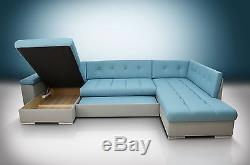 Large Corner Sofa Bed Group Eric, Bedding Place, Eco Leather, Blue / Grey