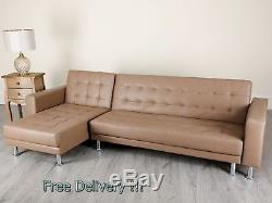 Large Corner Sofa Bed LUXURY 4 Seaters Couch Faux Leather L Shaped Settee Chaise