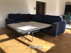 Large Midnight Blue Corner Sofa Bed, with hidden storage