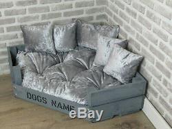 Large Personalised Rustic Grey Wooden Corner Dog Bed In Grey Crushed Velvet