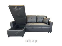 Leather Corner Sofa Bed with Storage & Reversible Chaise Black