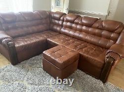 Leather corner sofa bed used