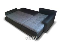 Left Hand Side Corner Sofa Bed in Black colour with one storage