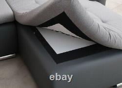 Left Hand Side Corner Sofa Bed with one storage & upholstery belts in Grey/White