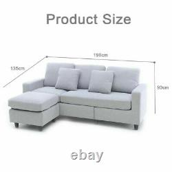 Left/Right Corner Sofa Hand Side Bed with FreeStyle Footstool 2 Free Pillows