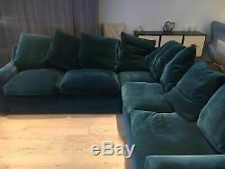 Loaf Even Sided Cloud Corner Sofa Bed in Berlin Blue clever deep velvet RRP 3765