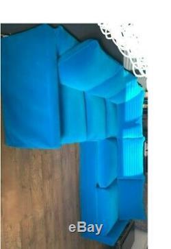 Loaf Pavilion even sided Corner Sofa Bed in Azure plush velvet removable covers