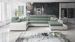 Luxurious Alberto Designer Leather Fabric Corner Sofa Bed