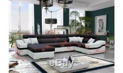 Luxurious Grey & Black Barcelona Designer Fabric Corner Sofa Bed With Storage