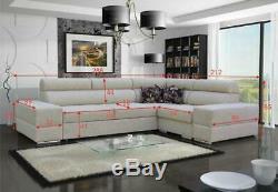 Luxurious Kalipso Designer Leather Fabric Corner Sofa Bed