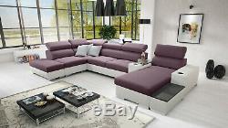 Luxurious PERSEO V Designer Leather Corner Sofa Bed