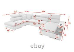Luxurious PERSEO VI Designer Leather Corner Sofa Bed