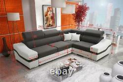 Luxurious Santiago Designer Leather Fabric Corner Sofa Bed
