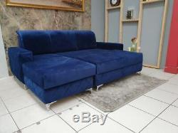 Luxurious Velvet Corner Sofa Bed With Storage Deep Blue
