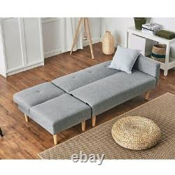 Luxury 2 Seater Corner Sofa Bed Armchair Recliner Sofabed Settee with Footstool