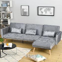 Luxury 3 Seater L-Shape Silver Velvet Corner Sofa Bed Armchair Recliner Sofabed