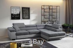 Luxury CALIFORNIA fabric corner sofa bed with storage
