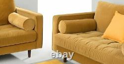 Luxury Velvet Sofa Bed With Wood Leg Living Room Settee Armchair Couches Yellow