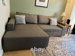 MADE. COM Grey Corner Sofa Bed Lightly Used