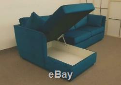 MADE. COM Milner LHF Corner Storage Sofa Bed Tuscan Teal Velvet (620)